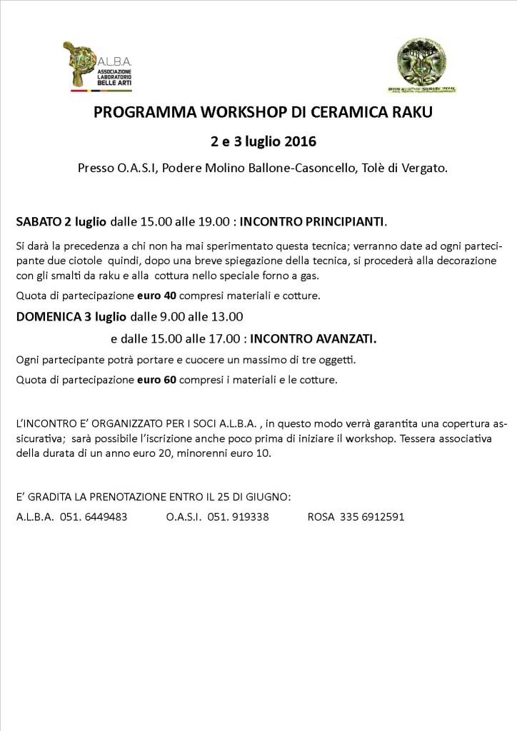WORKSHOP DI CERAMICA RAKU PROGRAMMA